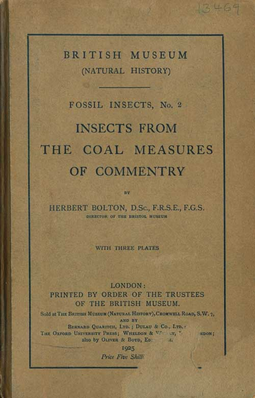 Insects from the coal measures of Commentry. Herbert Bolton.