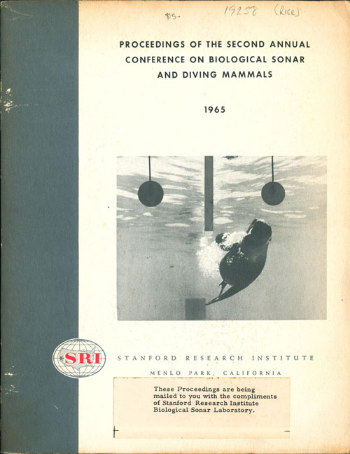 Proceedings of the second annual conference on biological sonar and diving mammals. C. E. Rice.