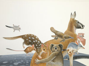 Original dustjacket design from Menkhorst and Knight's Field Guide to the Mammals of Australia. Frank Knight.