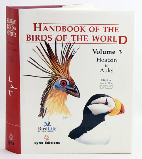 Handbook of the birds of the world [HBW], volume three: hoatzins to auks. Josep del Hoyo.