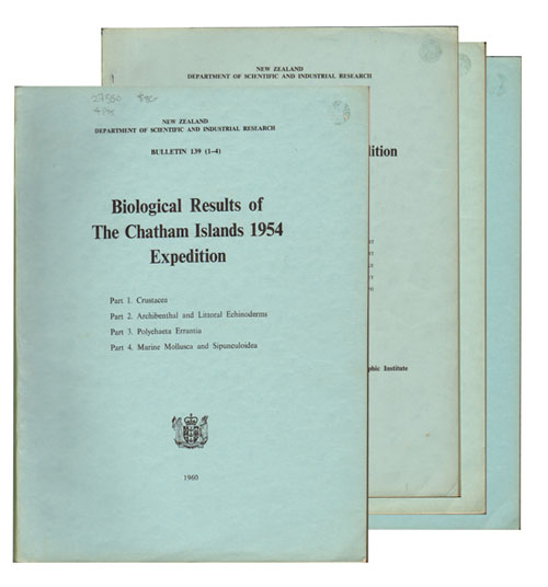 Biological results of the Chatham Islands 1954 expedition, parts one to seven. New Zealand Department of Scientific, Industrial Research.