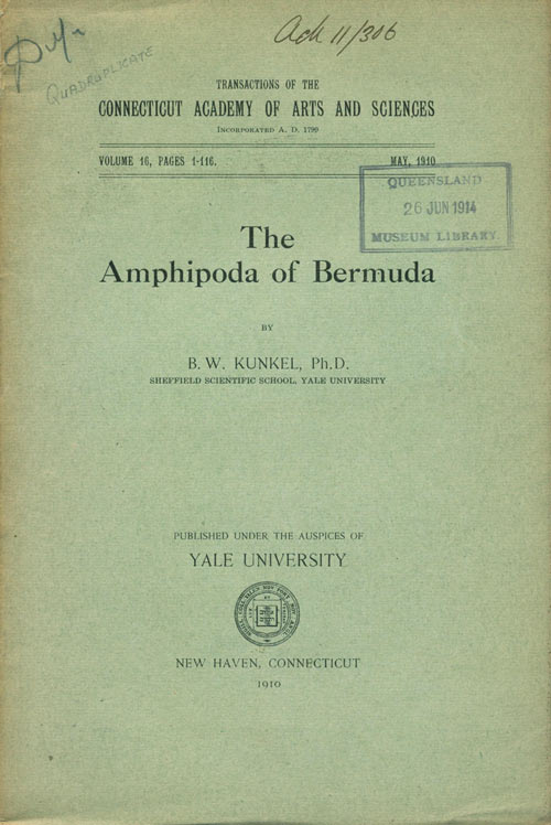 The Amphipoda of Bermuda. B. W. Kunkel.