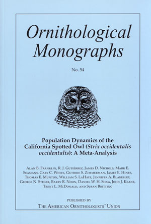 Population dynamics of the California spotted owl (Strix occidentalis occidentalis): a meta-analysis. Franklin. Alan B.