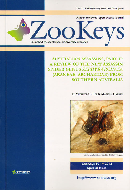 Australian assassins, part II: a review of the new assassin spider genus Zephyrarchaea (Araneae, Archaeidae) from southern Australia. Michael G. Rix, Mark S. Harvey.