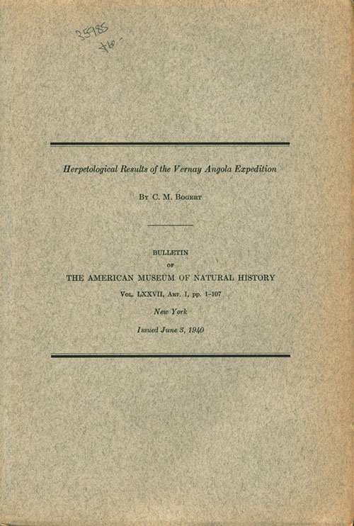 Herpetological results of the Vernay Angola Expedition. C. M. Bogert.