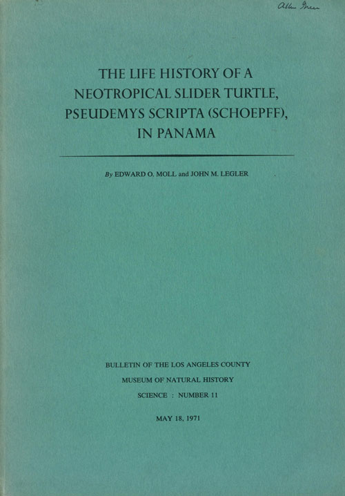 The life history of a neotrpocial Slider Turtle Pseudemys scripta (Schoepff), in Panama. Edward O. Moll, John M. Legler.