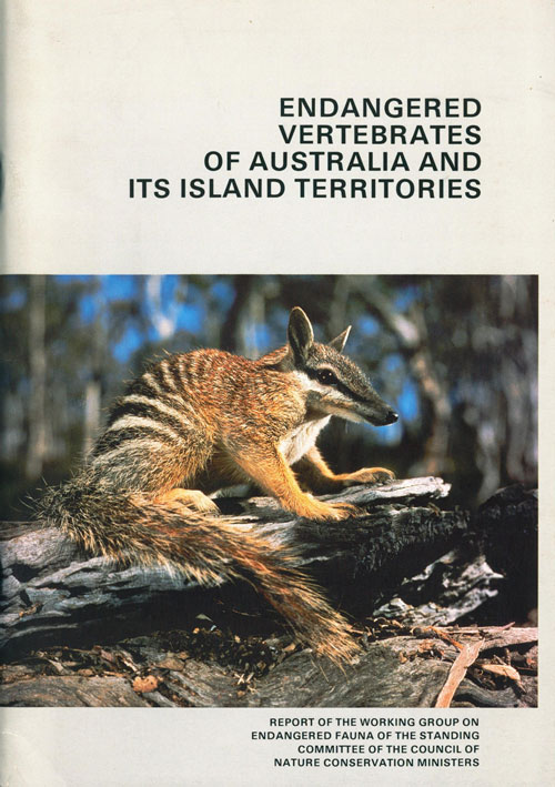 Endangered vertebrates of Australia and its island territories. andrew A. Burbidge.