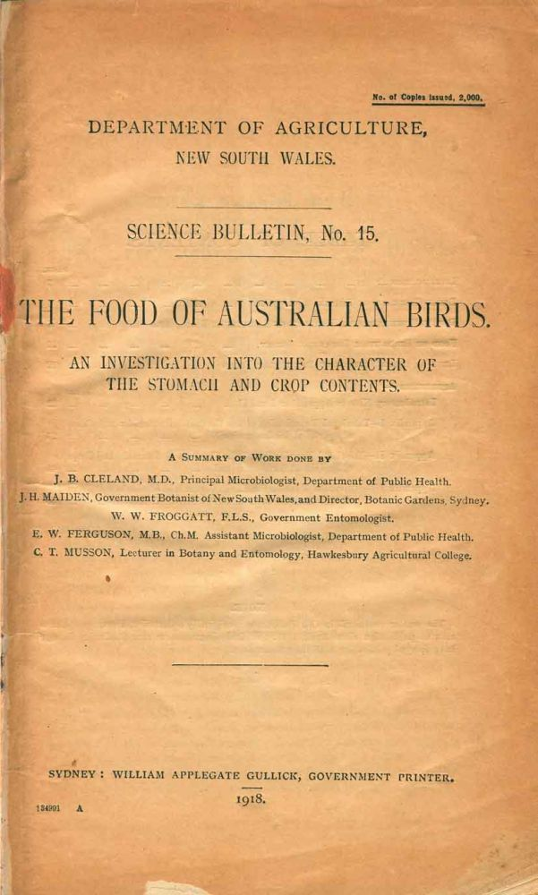The food of Australian birds: an investigation into the character of the stomach and crop contents. J. B. Cleland.