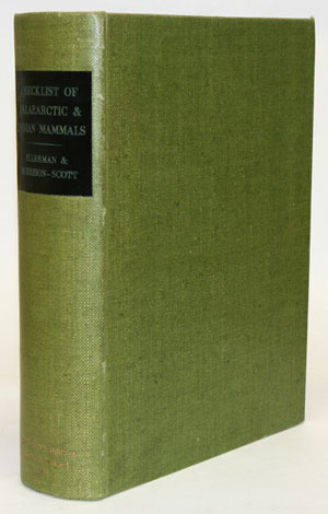 Checklist of Palaearctic and Indian mammals 1758 to 1946. J. R. Ellerman, T. C. S. Morrison-Scott.