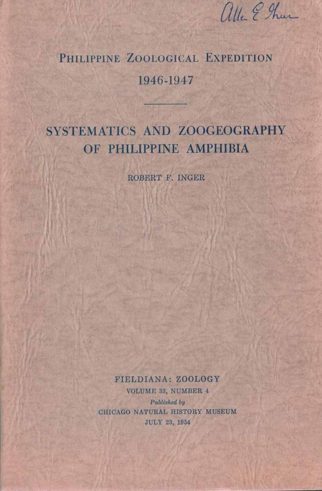 Systematics and zoogeography of Philippine amphibia. Robert F. Inger.
