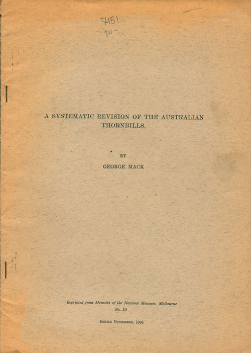 A systematic revision of the Australian thornbills. George Mack.