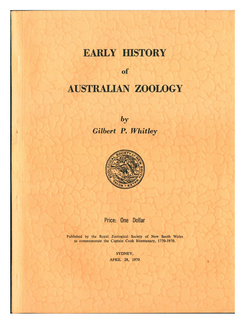 Early history of Australian zoology. Gilbert P. Whitley.