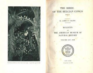 The birds of the Belgian Congo.