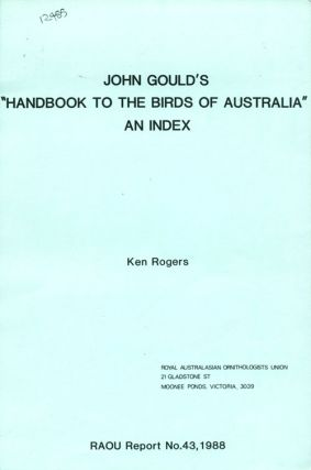 "John Gould's ""Handbook to the birds of Australia"": an index"