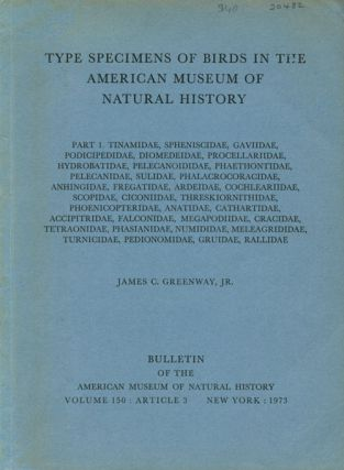 Type specimens of birds in the American Museum of Natural History, part one: Tinamidae,...