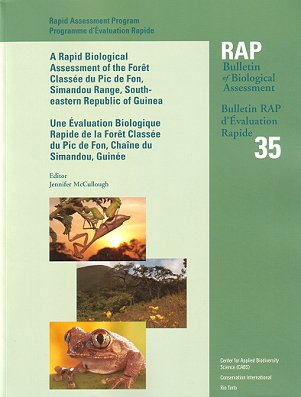 A Biological Assessment of the terrestrial ecosystems of the Fort Classee du Pic de Fon, Simandou...