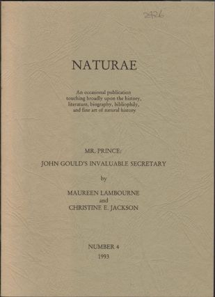 Mr. Prince: John Gould's invaluable secretary. Maureen Lambourne, Christine E. Jackson