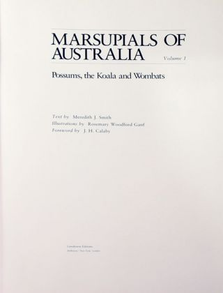 Marsupials of Australia, volumes one and two.