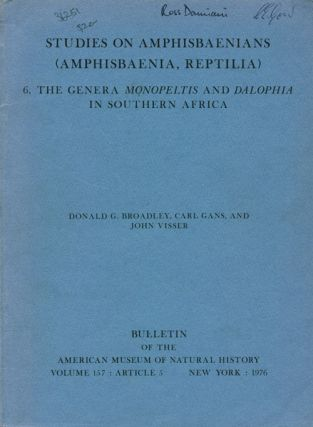 Studies on Amphisbaenians (amphisbaenia, Reptilia), [part six]: the genera Monopeltis and...