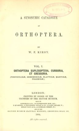 A synonymic catalogue of Orthoptera [all published].