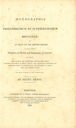 Monographia Pselaphidarum et Scydmaenidarum Britanniae: or an essay on the British species of the ...
