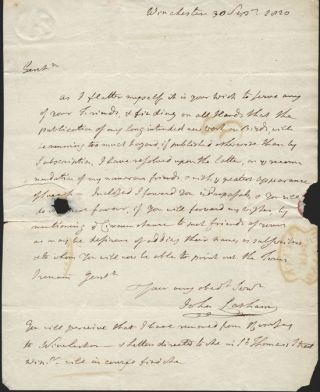 Autograph letter signed and dated 1820. John Latham.