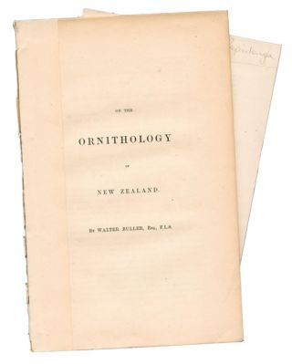 On the ornithology of New Zealand. Walter Buller.