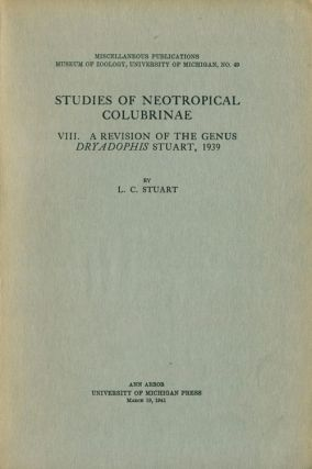 Studies of Neoptropical Colubrinae, [part eight]: a revision of the genus Dryadophis Stuart, 1939. L. C. Stuart.