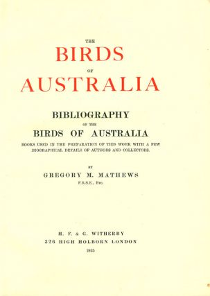 Bibliography of the birds of Australia.