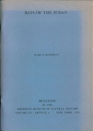 Bats of the Sudan, Karl F. Koopman