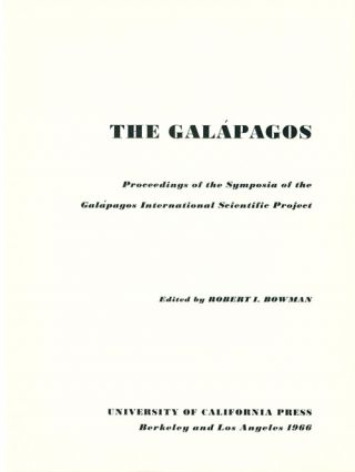The Galapagos: proceedings of the symposia of the Galapagos international Project.