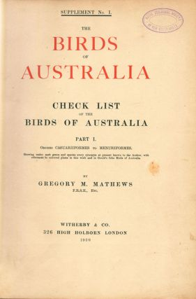 Check list of the birds of Australia, [bound with] Bibliography of the birds of Australia.