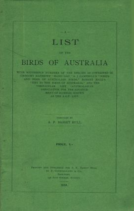 A list of the birds of Australia. A. F. Basset Hull.
