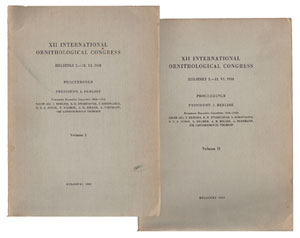 Proceedings of the [twelfth] International Ornithological Congress: Helsinki, 5-12 June 1958. G. Bergman.