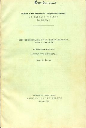 The herpetology of Southern Rhodesia, part one: snakes. Donald G. Broadley.