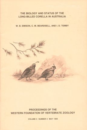 The biology and status of the Long-billed Corella in Australia. W. B. Emison.