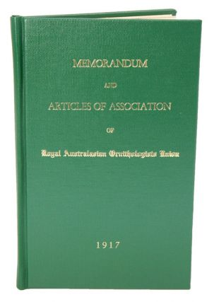 Memorandum and Articles of Association of Royal Australasian Ornithologists Union. J. A. Leach