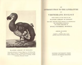 An introduction to the literature of vertebrate zoology.